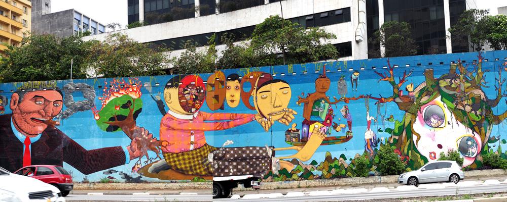 "Wandbild ""Av.23 de Maio"" in São Paulo, von Os Gêmeos, Nunca, Nina Pandolfo, Finok und Zefix"